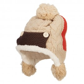Kid's Button Patch Ski Beanie