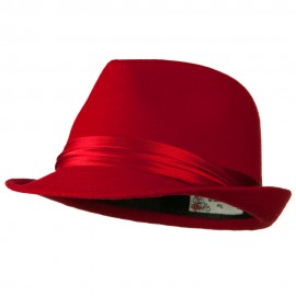 Fedora with Pleated Satin Band - Red