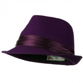 Fedora with Pleated Satin Band - Purple