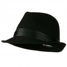 Fedora with Pleated Satin Band - Black