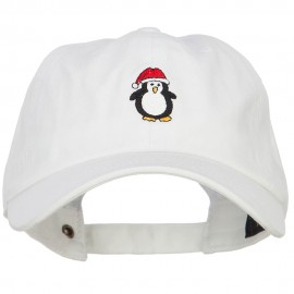Penguin with Santa Hat Embroidered Unstructured Cap