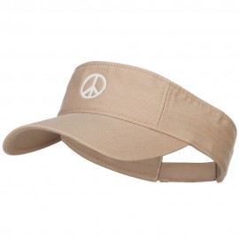 Peace Symbol Embroidered Washed Visor