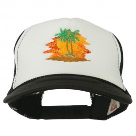 Palm Trees with Sunset Embroidered Foam Front Mesh Back Cap - Black White