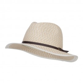 Patterned Panama Hat with Buckle Band