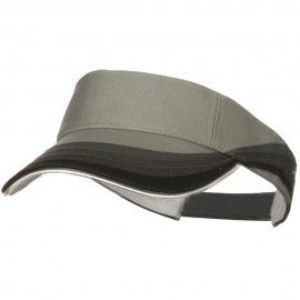 3 Panel Wave Cotton Piping Visor - Grey