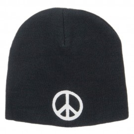 Peace Symbol Embroidered Short Beanie