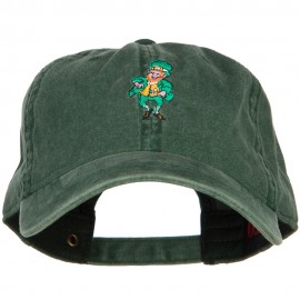 Happy Leprechaun Embroidered Washed Cotton Cap