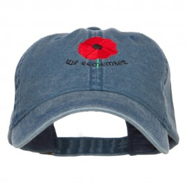 Poppy Flower We Remember Embroidered Cap - Navy