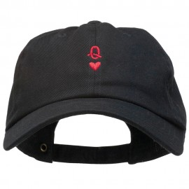 Q Heart Symbol Embroidered Washed Cap