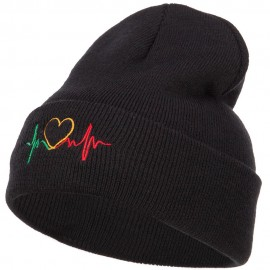 Rasta Heart Beat Embroidered Long Beanie