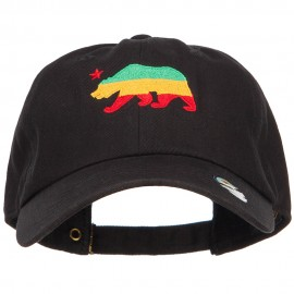 Rasta Cali Bear Embroidered Unstructured Cap