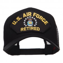 US Air Force Retired Military Patched Mesh Cap - Black