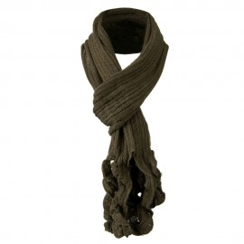 Ruffle End Knitted Acrylic Scarf