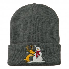 Reindeer and Snowman Embroidered Cuff Beanie