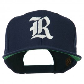 Old English R Embroidered Flat Bill Cap - Navy