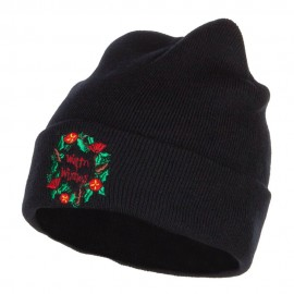 Warm Wishes Embroidered Long Beanie