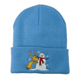 Reindeer and Snowman Embroidered Cuff Beanie - Sky Blue