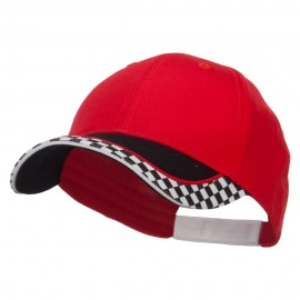 Racing Flag Print Cotton Cap - Red