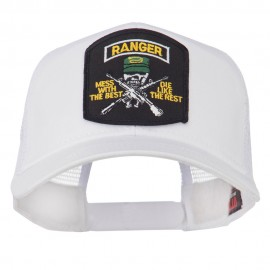 US Army Ranger Patched Mesh Back Cap - White