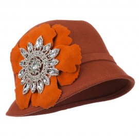 Women's Wool Felt Cloche with Rhinestone Flower