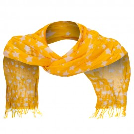 Cotton Scarf with Stars - Mustard