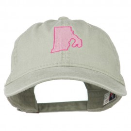 Rhode Island State Map Embroidered Washed Cotton Cap
