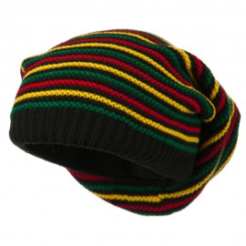 Rasta Striped Multi Deep Beanie