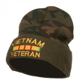 Vietnam Veteran Embroidered Camo Long Beanie - Green