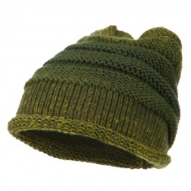 Women's Ribbed Rolled Beanie - Olive