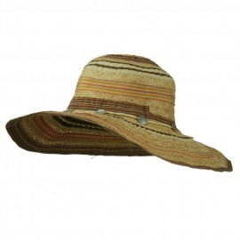 Ribbon And Raffia Shell Button Wide Brim Hat
