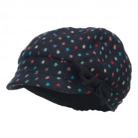 Women's Dotted Wool Blend Cabbie Cap