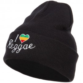 Rasta I Love Reggae Embroidered Long Beanie