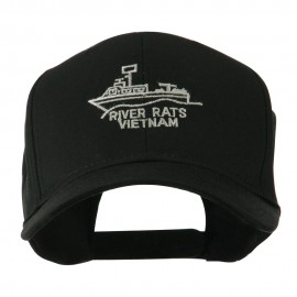 River Rats Vietnam with Riverboat Embroidered Cap - Black