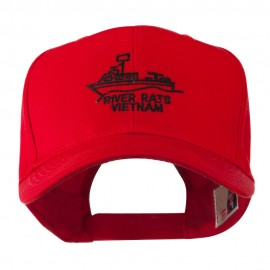 River Rats Vietnam with Riverboat Embroidered Cap - Red
