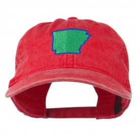 Arkansas State Map Embroidered Washed Cotton Cap
