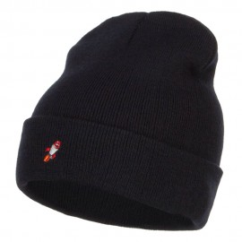 Mini Rocket Embroidered Long Beanie
