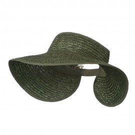 Braided Straw Roll Up Visor - Olive