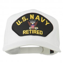 US Navy Retired Military Patched Cap - White