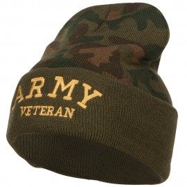 Army Veteran Letters Embroidered Camo Beanie
