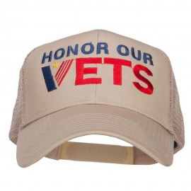 Honor Our Vets Embroidered Mesh Cap - Khaki