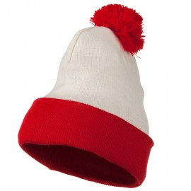 Red White Long Beanie