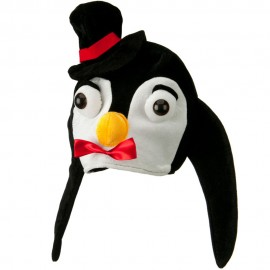 Black White Velvet Birds Hat - Penguin