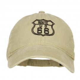 US Route 66 Embroidered Washed Cap - Khaki