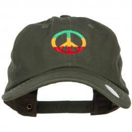 Rasta Peace Symbol Embroidered Unstructured Cap