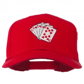 Royal Flush Embroidered Cotton Twill Cap - Red