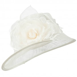 Slanted Flower Accent Sinamay Hat