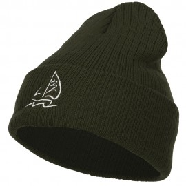 Sailboat Embroidered Heavy Ribbed Long Beanie