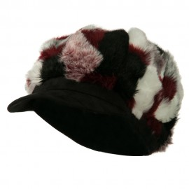 Faux Fur Suede Bill Newsboy Hat - Red Combo