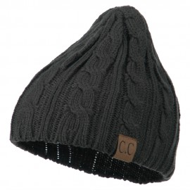 Solid Cable Knit Beanie - Grey