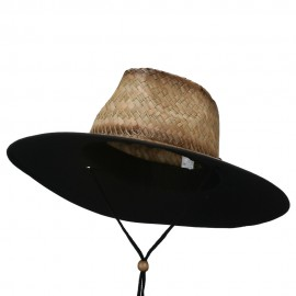 Stained Straw Braid Lifeguard Hat - Black